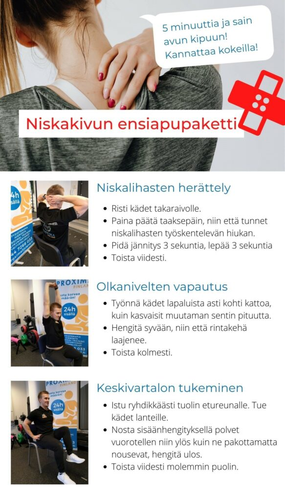 niskakipu ensiapupaketti fysioterapia fysios fysio särkylääke